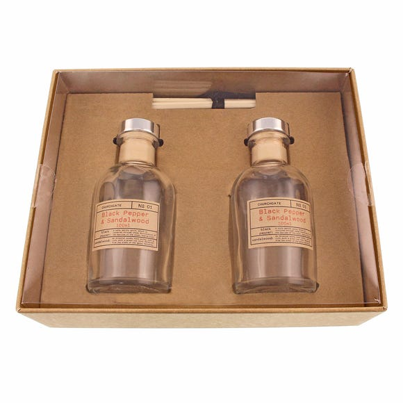 Churchgate Black Pepper and Sandalwood Set of Two Diffusers Brown undefined