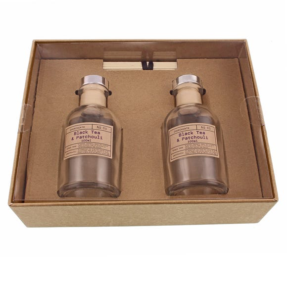 Churchgate Black Tea and Patchouli Set of Two Diffusers Brown