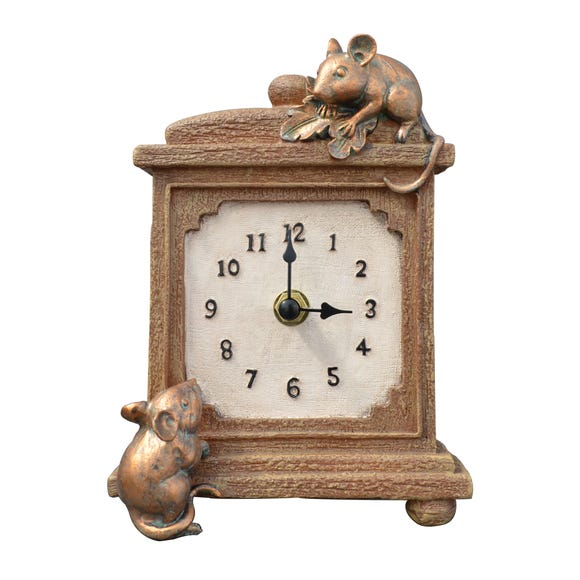 Brown Mice Mantel Clock Brown