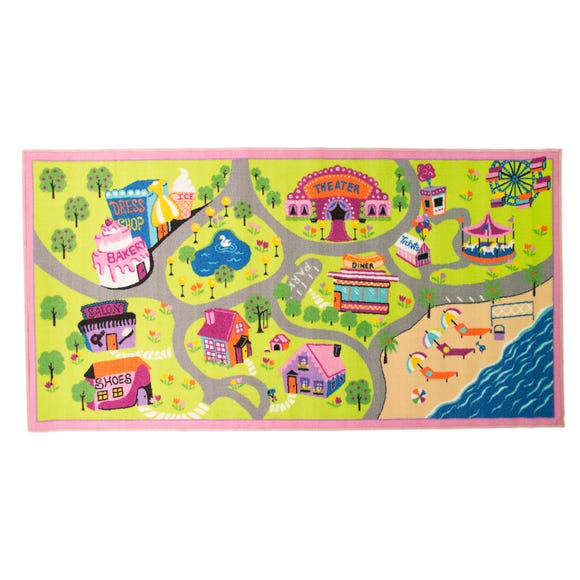 Pink Style Town Rug Multi Coloured undefined