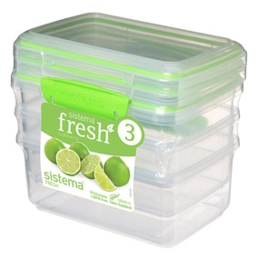 Sistema 1L Pack of 3 Klip It Plastic Lunch Boxes