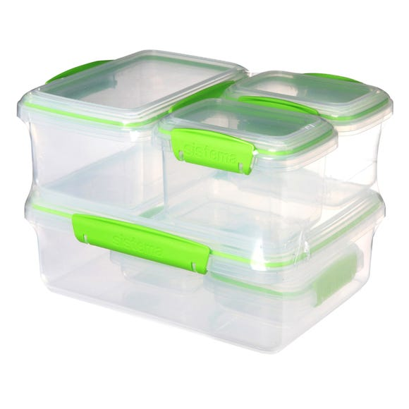 Sistema Klip It Pack of 6 Lunch Boxes Green
