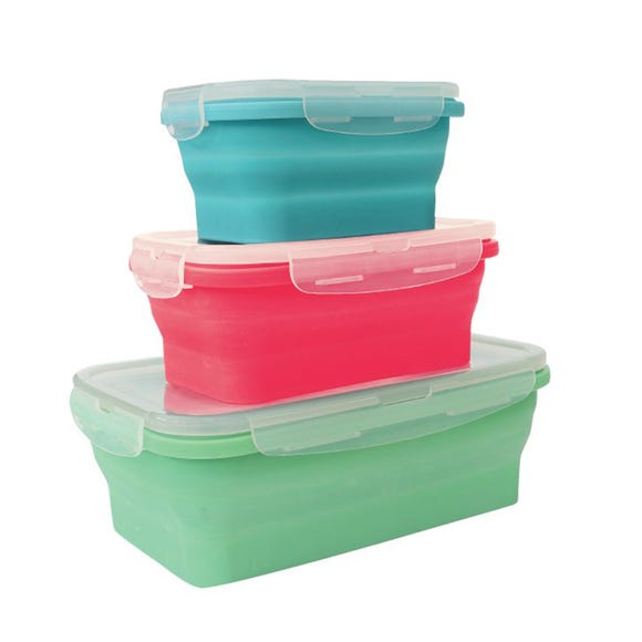 Set Of Three Collapsible Silicone Freezer Boxes Multi colour
