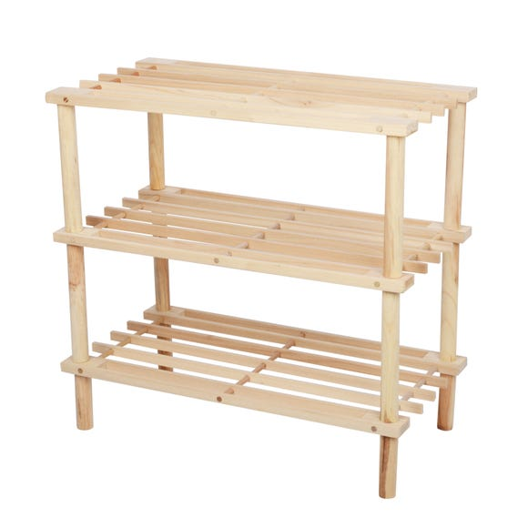 3 Tier Wooden Shoe Rack Brown