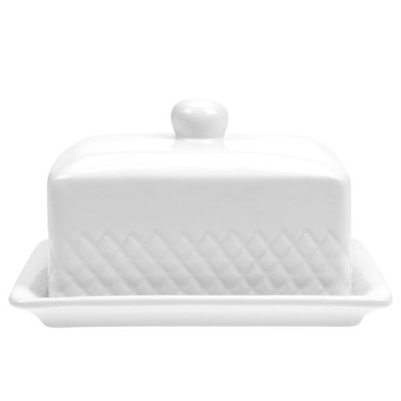 Quilted White Butter Dish White