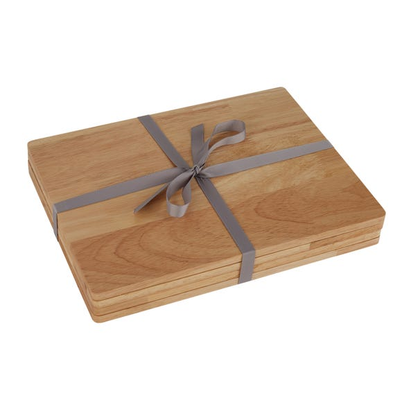 Pack Of 4 Rubberwood Placemats Natural