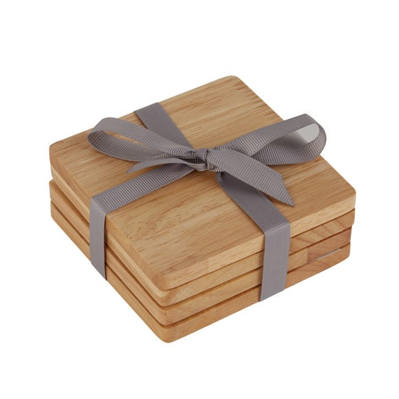 Pack Of 4 Rubberwood Coasters Natural