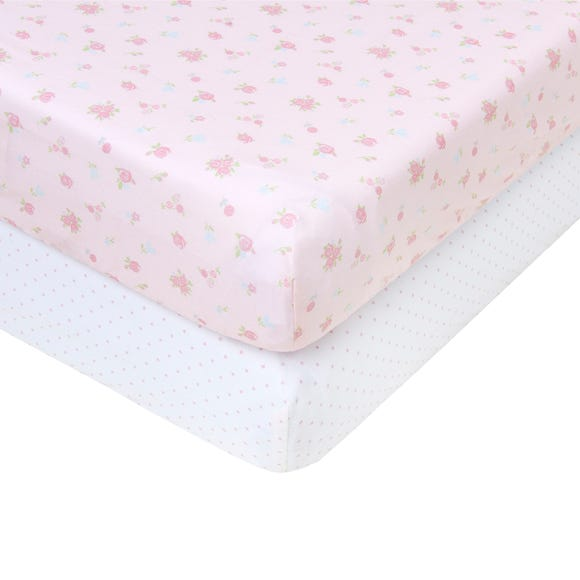 2 Pack Of Pretty Little Bunny Fitted Sheets  undefined