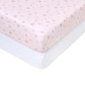 2 Pack Of Pretty Little Bunny Fitted Sheets