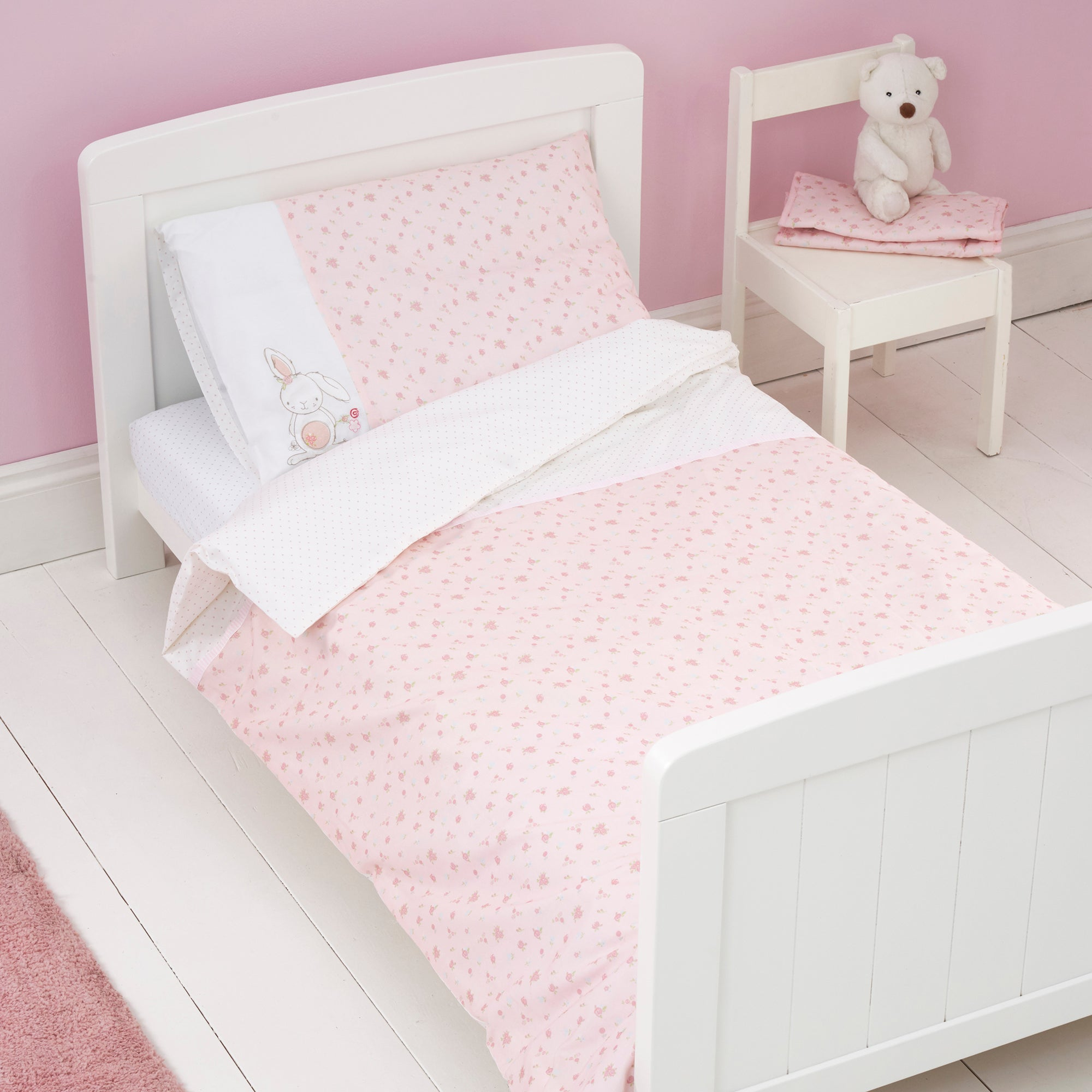 Photo of Pretty little bunny cot bed duvet cover and pillowcase set pink