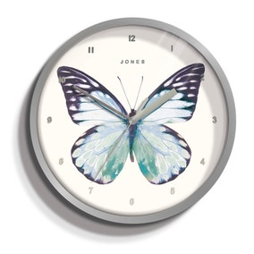 Jones 20cm Butterfly Wall Clock Silver