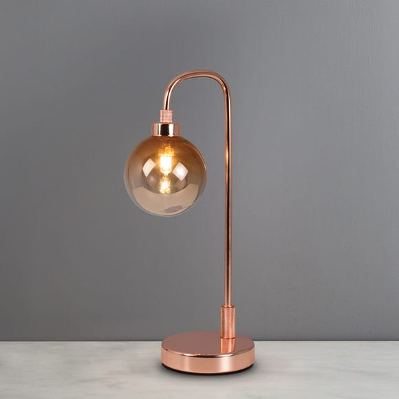 Tanner Copper and Glass Table Lamp Copper (Brown)