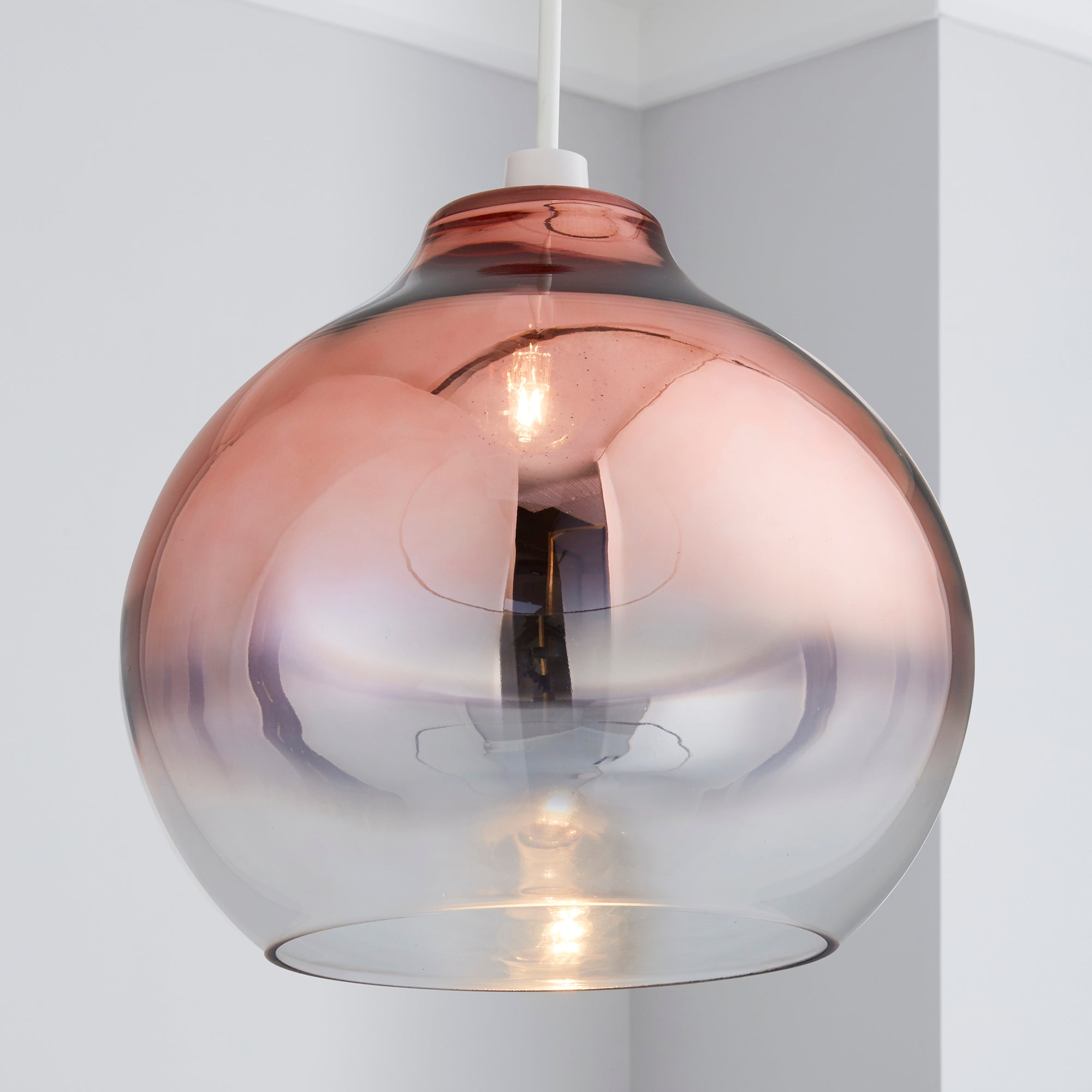 Click to view product details and reviews for Nivala Ombre Smoked Glass Copper Easy Fit Pendant Copper Brown.