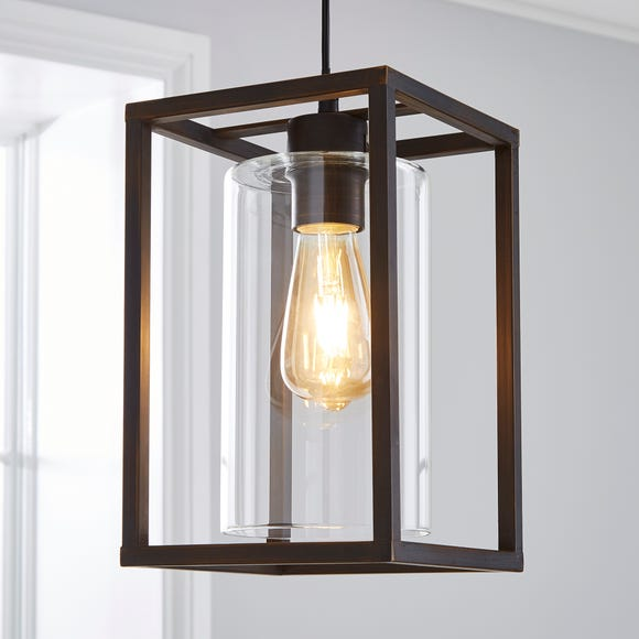 London Industrial 1 Light Pendant Bronze Ceiling Fitting Brown