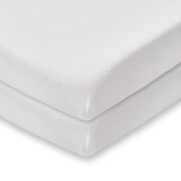 Pack of 2 White 100% Cotton Jersey Crib Fitted Sheets White