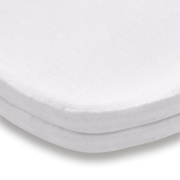 Pack of 2 White Flannelette Fitted Travel Cot Sheets White