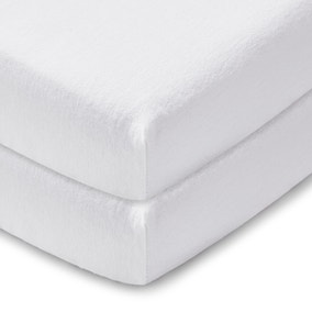 Pack of 2 White 100% Cotton Flannelette Cot Bed Fitted Sheets