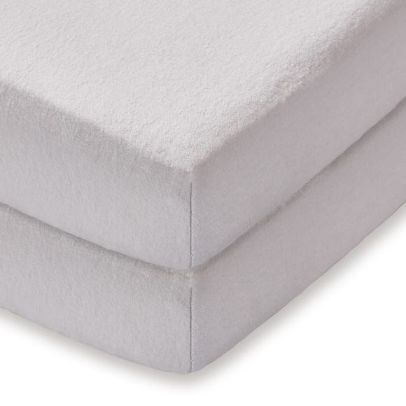 Pack of 2 Grey Flannelette Cot Bed Fitted Sheets