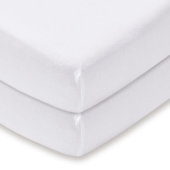 Pack of 2 White 100% Cotton Jersey Cot Bed Fitted Sheets