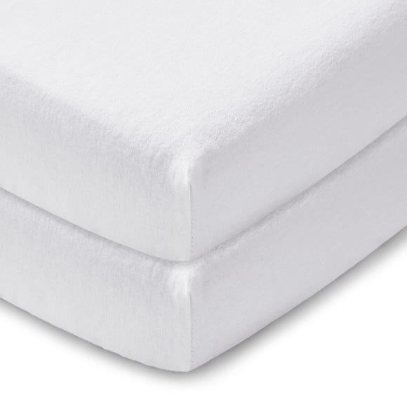 Pack of 2 White 100% Cotton Flannelette Cot Fitted Sheets