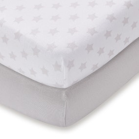 Pack of 2 Grey 100% Cotton Jersey Cot Bed Fitted Sheets