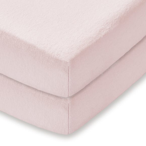 Pack of 2 Pink 100% Cotton Flannelette Cot Fitted Sheets
