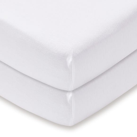 Pack of 2 White 100% Cotton Jersey Cot Fitted Sheets
