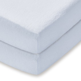 Pack of 2 Blue 100% Cotton Flannelette Cot Fitted Sheets