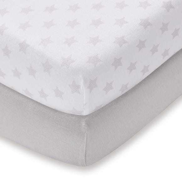 Pack of 2 Grey Jersey 100% Cotton Cot Fitted Sheets