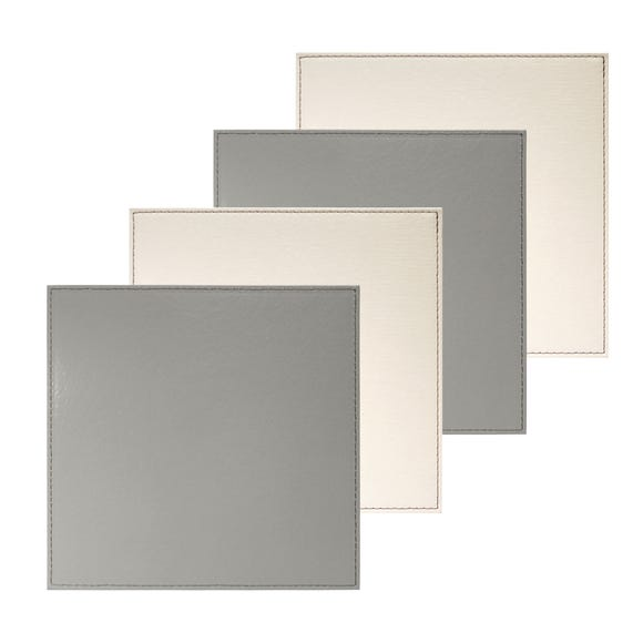 Pack Of Four Reversible Cream And Grey Square Placemats Grey