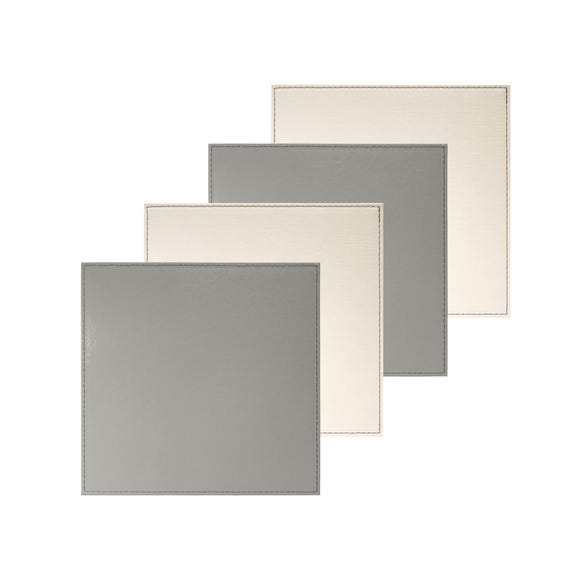 Pack Of Four Reversible Cream And Grey Coasters Grey