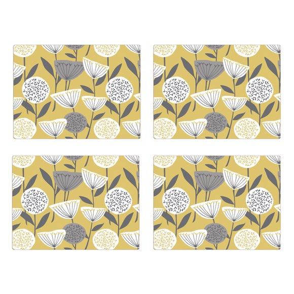 Elements Emmott Ochre Pack Of Four Placemats Ochre