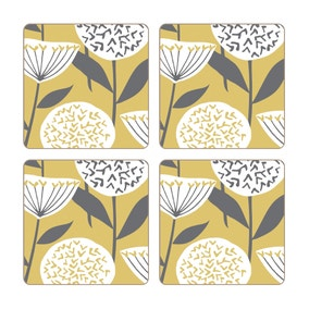 Elements Emmott Ochre Pack Of Four Coasters