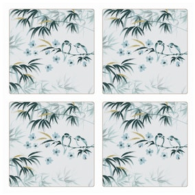 Pack Of Four Oriental Bird Square Placemats