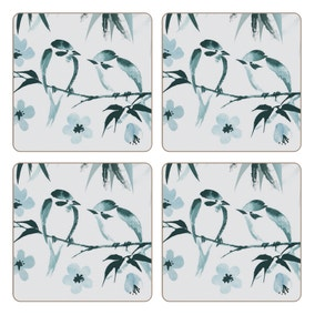 Pack Of Four Square Oriental Bird Coasters