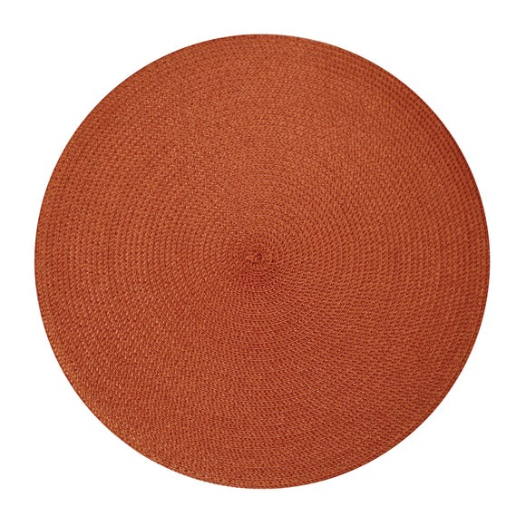 Pack of Two Woven Round Placemats Paprika