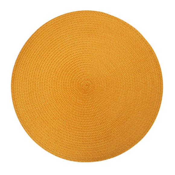 Pack Of Two Round Woven Ochre Placemats Ochre