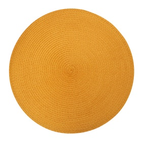Pack Of Two Round Woven Ochre Placemats