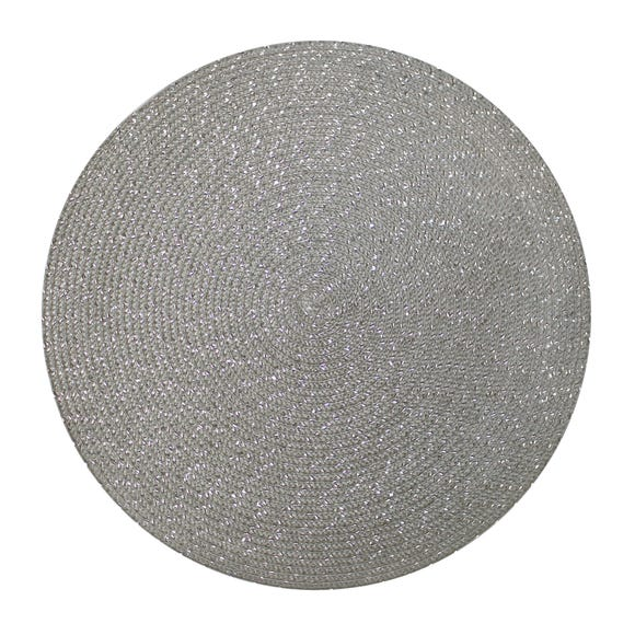 Pack Of Two Woven Round Silver Placemats Silver