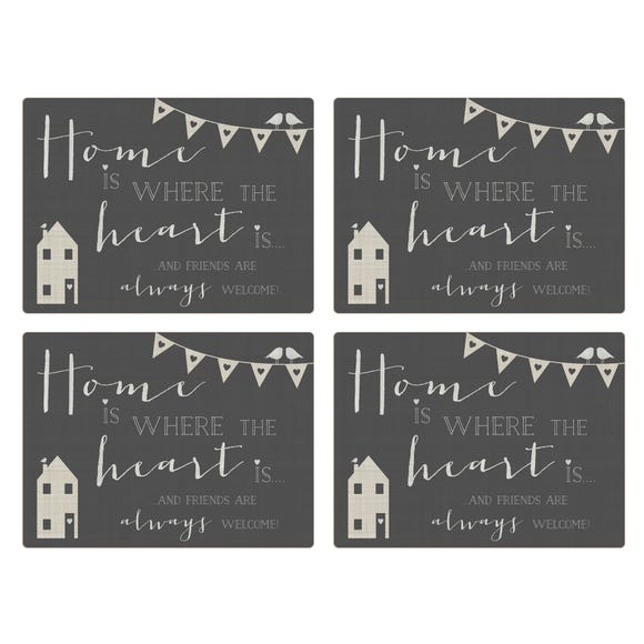 Pack of Four Grey Slogan House Placemats Grey