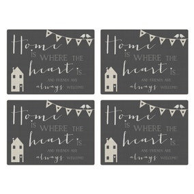 Pack Of Four Grey Slogan House Placemats