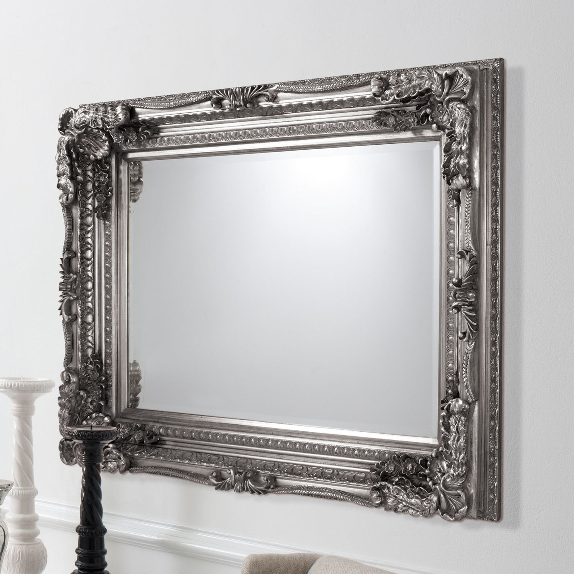 Click to view product details and reviews for Carved Louis 120x90cm Wall Mirror In Silver Silver.