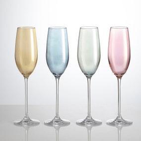 Pack Of Four Lustre Assorted 235ml Flute Glasses