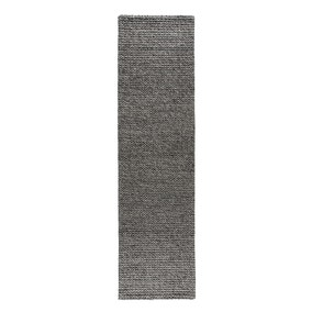 Grey Textured Wool Mix Runner