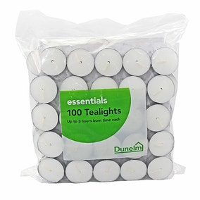Essentials Pack of 100 Unscented Tealights