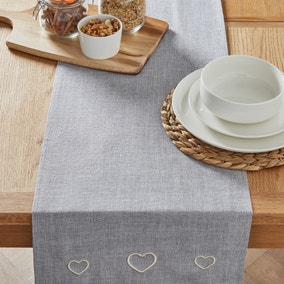 Country Heart Dove Grey Table Runner