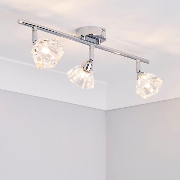 Khobi 3 Light Glass Spotlight Bar Silver