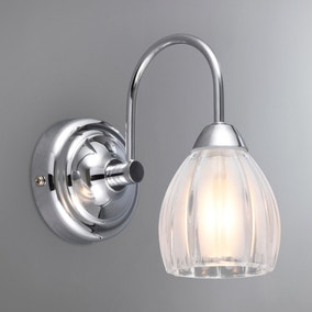 Julius Ribbed Glass Bathroom Wall Light