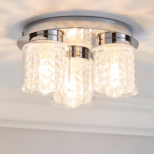 Hylighton 3 Light Glass Bathroom Flush Ceiling Fitting Dunelm