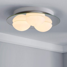Harlow 3 Light Frosted Bathroom Flush Ceiling Fitting